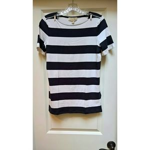 NWT Michael Michael Kors Striped Shoulder-Zip Tee
